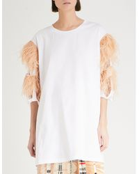 Maison Margiela - White Feather-trimmed Cotton-jersey T-shirt - Lyst