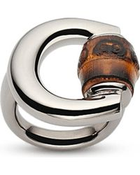 Gucci - Metallic Horsebit Bamboo-detail Sterling Silver Ring - Lyst
