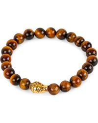 Nialaya - Brown 18ct Gold-plated Sterling Silver And Tiger Eye Bracelet for Men - Lyst