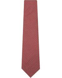 Lanvin | Red Tonal Zipzag Silk Tie for Men | Lyst