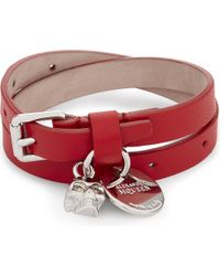 Alexander McQueen | Red Skull Double Wrap Leather Bracelet | Lyst