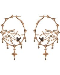 Annoushka | Metallic Dreamcatcher 18ct Rose-gold And Diamond Hoop Earrings | Lyst