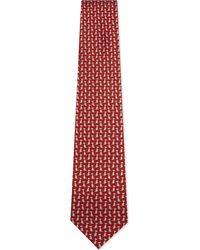 Ferragamo   Red Sitting Dog Silk Tie for Men   Lyst