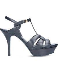 Saint Laurent | Blue Tribute 75 Leather Heeled Sandals | Lyst