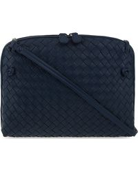 Bottega Veneta - Blue Ciel Intrecciato Leather Small Cross-body Bag - Lyst