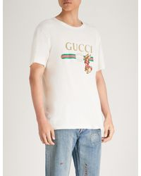 08c35c83 Gucci Bunny-embroidered Logo-print Cotton-jersey T-shirt in White ...