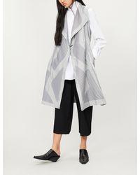 Issey Miyake - Gray Sunset Contrast-panel Woven Sleeveless Coat - Lyst