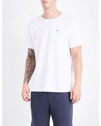 Tommy Hilfiger | White Logo-embroidered Cotton-jersey T-shirt for Men | Lyst