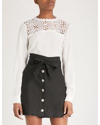 The Kooples - Multicolor Ecru Lace And Silk-crepe Top - Lyst