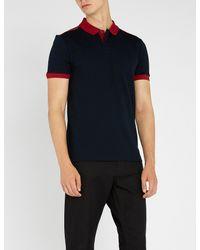 BOSS - Blue Contrast-trim Cotton-piqué Polo Shirt for Men - Lyst