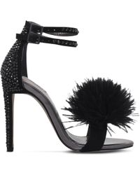 Carvela Kurt Geiger | Black Glenn Fluffy Faux-suede Sandals | Lyst