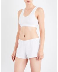Sunspel - Ladies White Cropped Classic Racerback Stretch-cotton Top - Lyst