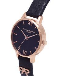 Olivia Burton Metallic Vintage Bow Rose-gold Plated Leather Strap Quartz Watch
