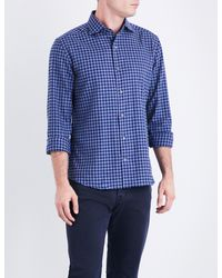 Corneliani - Blue Regular-fit Cotton-flannel Shirt for Men - Lyst