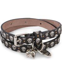 Alexander McQueen | Metallic Skull Leather Double Wrap Bracelet for Men | Lyst
