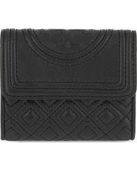 93e93c52b153 Tory Burch Fleming Leather Mini Flap Wallet in Black - Lyst