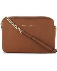 MICHAEL Michael Kors | Brown Saffiano Leather Cross-body Bag | Lyst