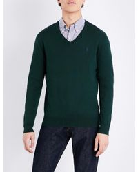 Polo Ralph Lauren - Green Slim-fit V-neck Cotton Jumper for Men - Lyst