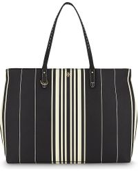 Tory Burch | Black Kerrington Striped Leather Tote | Lyst