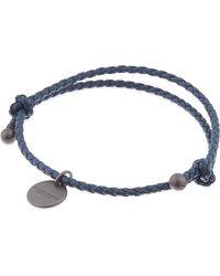Bottega Veneta - Blue Intrecciato Leather Beaded Thin Wrap Bracelet - Lyst