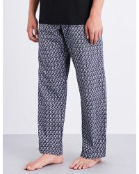 Derek Rose - Mens Black Woven Monkey Cotton-woven Pyjama Bottoms for Men - Lyst