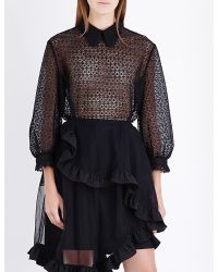 Simone Rocha - Black Balloon-sleeve Floral-lace Shirt - Lyst