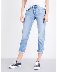 Levi's | Blue Ladies Cropped Classic 501 Taper High-rise Jeans | Lyst