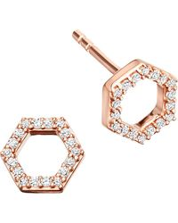 Astley Clarke | Metallic Honeycomb 14ct Rose Gold And Diamond Stud Earrings | Lyst