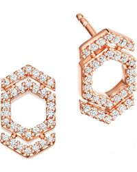 Astley Clarke | Metallic Double Varro Honeycomb 14ct Rose Gold And Diamond Stud Earrings | Lyst