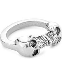 Alexander McQueen | Metallic Double Skull Ring for Men | Lyst