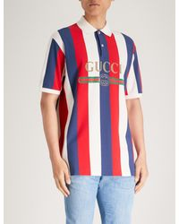 9630fe1ed Gucci Baiadera Striped Cotton-piqué Polo Shirt in Red for Men - Lyst