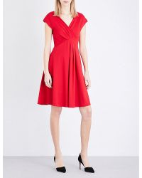 Armani   Red Pleated Crepe Dress   Lyst