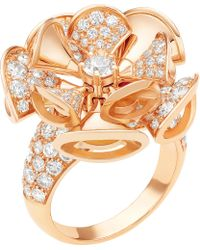BVLGARI - Divas' Dream 18kt Pink-gold And Diamond Ring - Lyst
