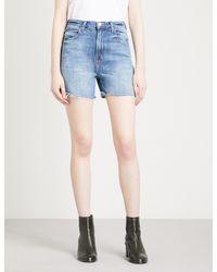 J Brand - Blue Joan Frayed-hem Denim Shorts - Lyst