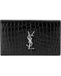 Saint Laurent | Black Monogram Croc-embossed Leather Clutch | Lyst