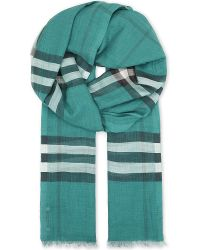 Burberry   Green Giant Check Silk-blend Scarf   Lyst