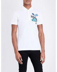 Burberry | White Weather-appliqué Cotton-piqué Polo Shirt for Men | Lyst