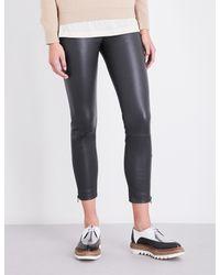 Brunello Cucinelli - Multicolor Cropped Leather Leggings - Lyst