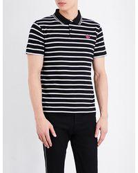 McQ Alexander McQueen - Black Striped Cotton Polo Shirt for Men - Lyst
