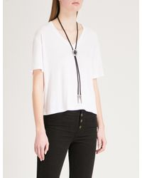 The Kooples - White Necklace-detail Woven T-shirt - Lyst