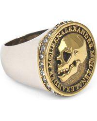 Alexander McQueen - Metallic Skull Coin Ring for Men - Lyst