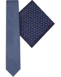 Lanvin | Blue Diamonds Silk Tie & Pocket Square Set for Men | Lyst