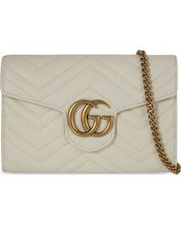Gucci | White GG Marmont Leather Shoulder Bag | Lyst