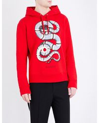 b64fb3147 Gucci Snake-print Cotton-jersey Hoody in Red for Men - Lyst