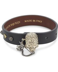 Alexander McQueen - Metallic Crystal Skull Leather Wrap Bracelet - Lyst