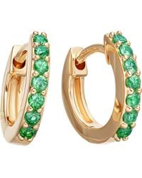 Astley Clarke - Metallic Mini Halo 14ct Yellow Gold And Emerald Hoop Earrings - Lyst