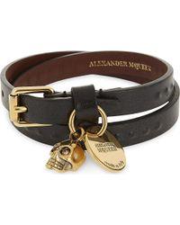Alexander McQueen | Metallic Leather Skull Charm Double Wrap Bracelet | Lyst
