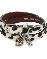 Alexander McQueen | Metallic Ponyhair Skull Charm Double Wrap Bracelet | Lyst