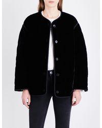 Sandro - Black Quilted Velvet Blazer - Lyst
