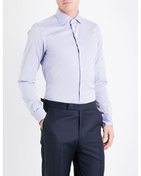Richard James - Blue Geometric-print Contemporary-fit Cotton Shirt for Men - Lyst